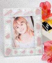 Murano Pink Frosted Photo Frame / Place Card Holder